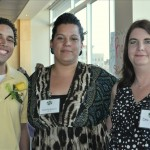 Action Hero Award Recipient Christian Olivo, JEC Graduate/AllCom Credit Union; Michelle Ramirez, WCAC GED Instructor; and Debbie Loewe, Imperial Distributors.