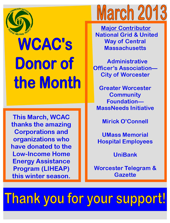 Donor of the Month - March 2013