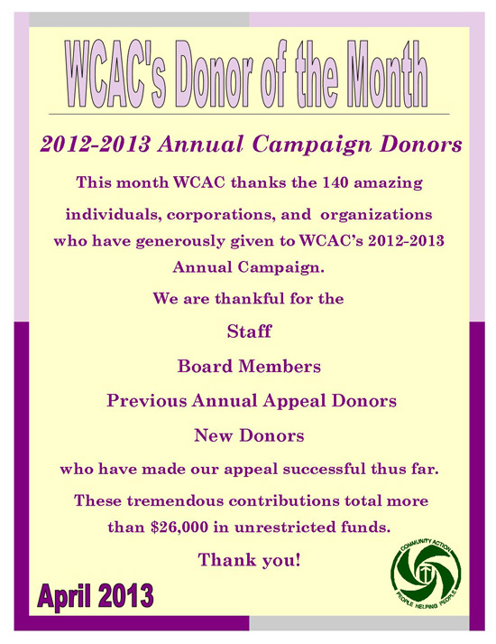 Donor of the Month - April 2013
